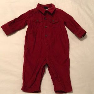 Baby Gap Red Corduroy Lined One Piece Sz 6-12Mnths